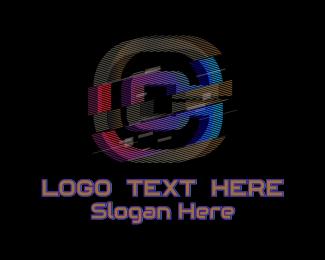 Gradient Glitch Letter C Logo