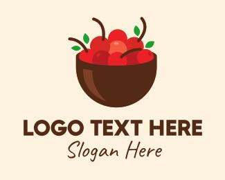 Market - Fruit Red Cherry Bowl logo design
