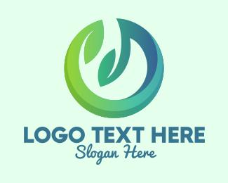 Windy - Nature Circle Leaves  logo design
