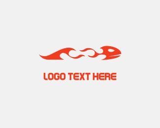 Go Kart - Flame Fish logo design