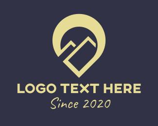 Landmass - Brown Mountain Location Pin logo design