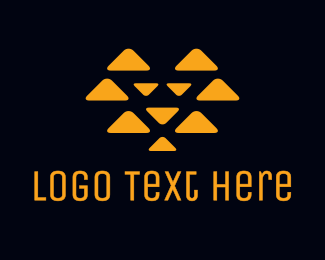 Orange Triangle - Abstract Triangle Lion logo design