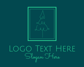 Yuletide - Pine Tree Line Art logo design