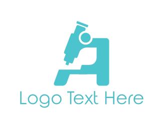 Scientist - Blue Microscope logo design