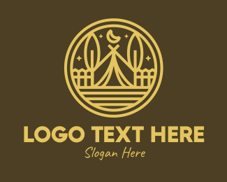 Backpacking - Rustic Brown Campsite logo design