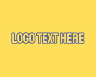 Uppercase - Yellow & Blue Outline Font logo design