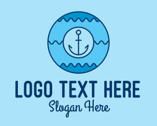 Lifeguard - Blue Anchor Waves logo design