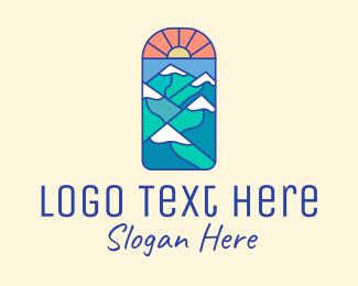 Trekking - Sun Mountain Peaks logo design