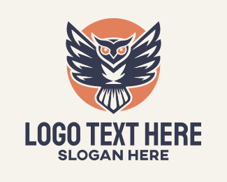 Bird Of Prey - Owl Sun Mascot logo design