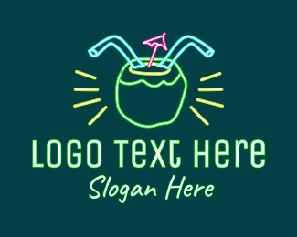 Summer Holiday - Neon Coconut Drink  logo design