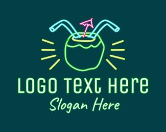 Neon Lights - Neon Coconut Drink logo design