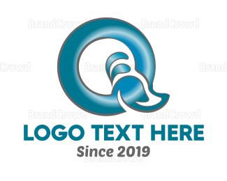 Calligraphy - Blue Letter Q logo design