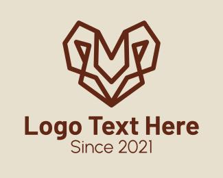 Mouflon - Minimalist Goat Head  logo design