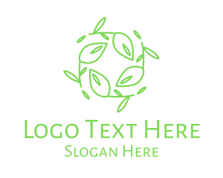 Natural Therapy - Green Stroke Leaves Wreath logo design