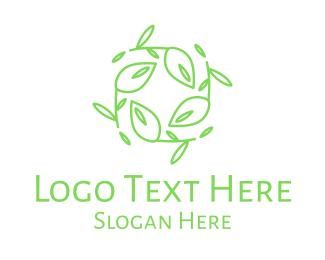 Crop - Green Stroke Leaves Wreath logo design