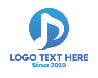 Music App - Blue Music Note Badge logo design