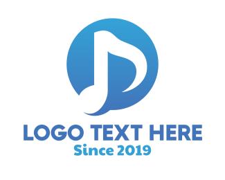 Badge - Blue Music Note Badge logo design