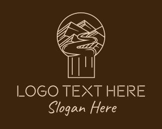 Mountain - Minimalist Mountain Path logo design