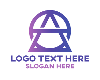 Purple Triangle - Geometric AO Fashion Monogram logo design