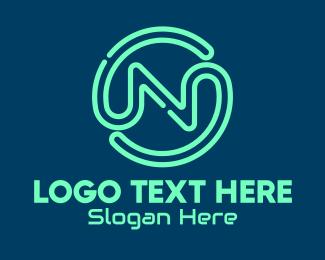 Neon - Neon Gaming Letter N logo design