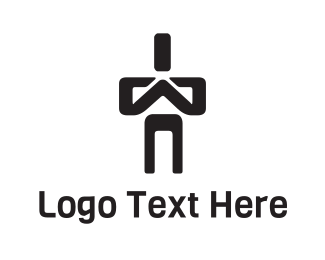 God - Praying Man Character logo design