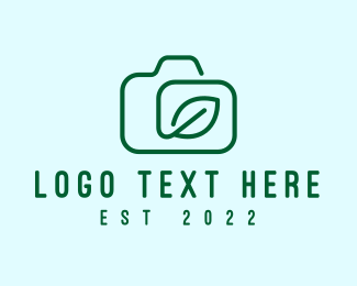 Green Camera - Camera Leaf Outline logo design