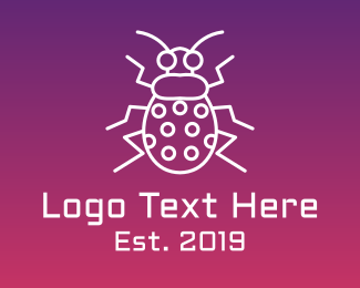 Green Bug - Cyber Bug Outline logo design