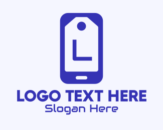 Mobile Tablet - Blue Mobile Tag Lettermark logo design
