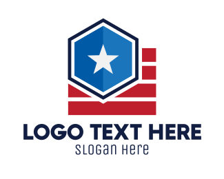 Voting Precinct - Star Hexagon Stripes logo design