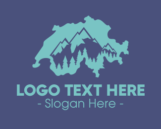 Swiss - Swiss  Alps Map logo design