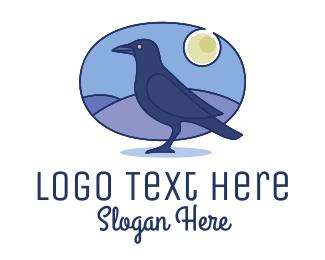 Night Sky - Night Raven Bird logo design