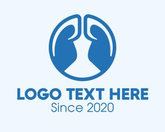 Lung Cancer - Round Blue Respiratory Lungs logo design