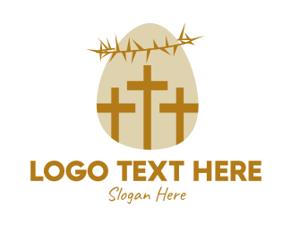 Risen - Easter Egg Christian Cross logo design