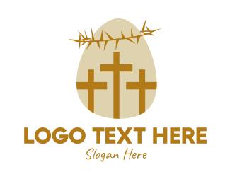 Christian - Easter Egg Christian Cross logo design