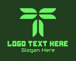 Clean Energy - Digital Eco Leaf Letter T logo design