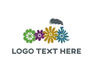 Locomotive - Flower Train logo design
