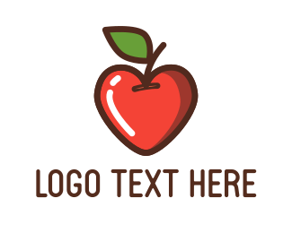 Romantic - Heart Apple logo design