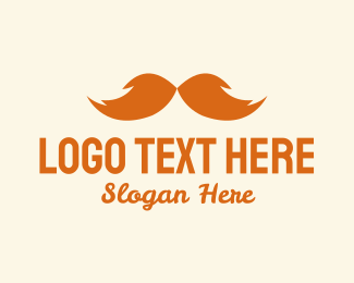 Dude - Orange Bushy Mustache  logo design