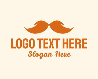 Men - Orange Bushy Mustache  logo design