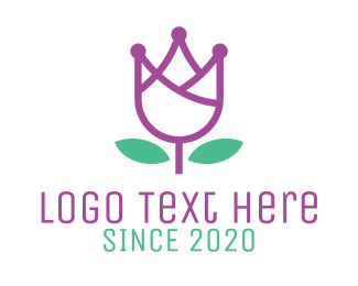 Purple Leaf - Flower Tech Outline logo design