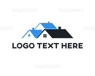 Build - Abstract Black Blue House logo design