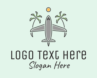 Travel - Airplane Tropical Vacation Travel logo design