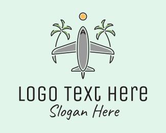 Aeroplane - Airplane Tropical Vacation Travel logo design