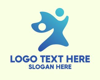 Helping - Blue People Organization  logo design