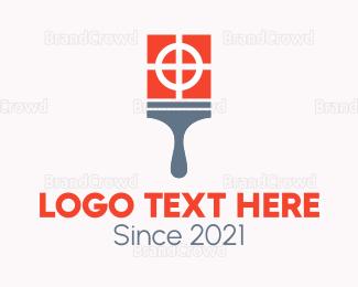 Painter - Pink Brush Printer logo design