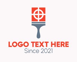 Renovation - Orange Paint Paintbrush logo design