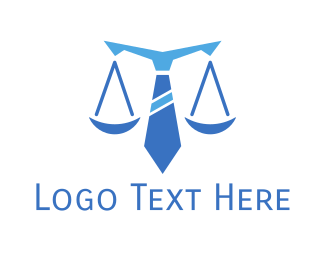 Immigration Lawyer - Blue Tie Scales of Justice logo design