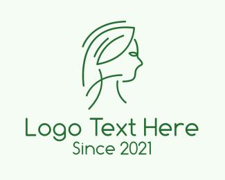 Line Art - Green Woman Line Art logo design
