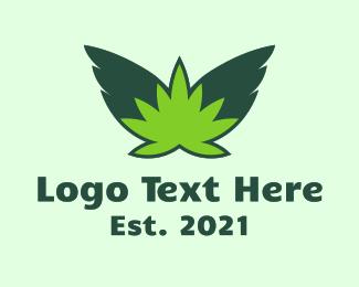 Weed - Flying Weed Leaf logo design