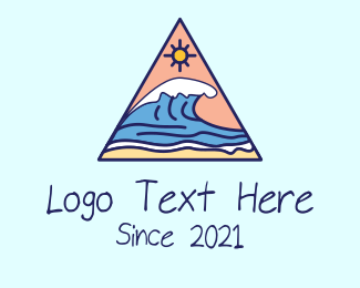 Sunbathing - Triangle Wave Sea logo design